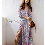 *Maxi Dress ZARA เดรสแขนยาว คอวี พิมพ์ลายสวย สีสดใสลวดลายออก วินเทจ สีออก *