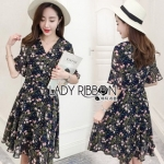 Lady Ribbon Nasha Mixed Wild Floral Printed Chiffon Ruffle Dress เดรสผ้าชีฟอง