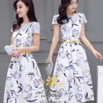 เสื้อผ้าแฟชั่นเกาหลีพร้อมส่งชุดเดรสแขนล้ำ ผ้าซาตินซิล