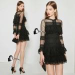 Mini dress ลูกไม้สีดำลูกไม้เเน่นๆ. สีดำแต่งชั้นระบาย ช่วงกระโปรง