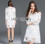 Lady Ribbon Online เสื้อผ้าออนไลน์ ขายส่งของแท้ราคาถููก LR09110716 &#x1F380 Lady Ribbon's Made &#x1F380 Lady Daria Pure Classic White Silk Cotton and Lace Dress
