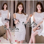 Lady Ribbon Online เสื้อผ้าแฟชั่นออนไลน์ขายส่ง เลดี้ริบบอนของแท้พร้อมส่ง Veryverypreppy เสื้อผ้า VP01240716 Elegant White Floral Lace Sleeveless Dress