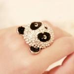N927 - แหวนแฟชั่น,แหวน,แหวนเกาหลี,เครื่องประดับ diamond panda ring