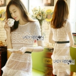 Lady Ribbon Self-Portrait Mixed White Lace Mini Dress