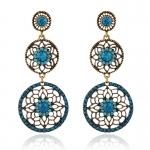 AT2282 - ตุ้มหู ต่างหู เครื่องประดับหินสี ต่างหูแฟชั่น ตุ้มหูแฟชั่น เครื่องประดับ three cut diamond earrings
