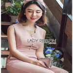 PalePink Crepe Lady Ribbon Jumpsuit จัมป์สูท