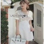 White Lace and Crepe Mini Dress Lady Ribbon มินิเดรส
