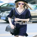 Seoul Secret Colar Navy Knit Dress