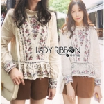 Lady Ribbon Flower Embroidered Linen Zara's Blouse