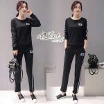เซตเสื้อแขนยาวคอกลม+กางเกงสไตล์ Sport ดีเทลเรียบๆแต่เก๋ เป็นชุดสีดำ