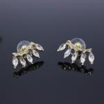 AG1713 - ต่างหูเพชร ตุ้มหูเพชร ตุ้มหู ต่างหู ต่างหูระย้า เครื่องประดับ leaves diamond earring