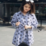 Lady Ribbon Jackie Blue Cotton Shirt Dress