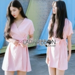 Lady Ribbon Rosa Sweet Casual Pastel Mini Dress with Ribbon