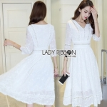 Lady Ribbon Embroidered and Embellished White Crepe Dress