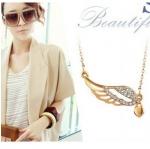 F635 - สร้อยคอแฟชั่น,สร้อยคอ,สร้อยแฟชั่น,เครื่องประดับ angel wings of love hearts necklace
