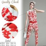 เซ็ตเสื้อ+กางเกงใส่เข้าชุดกัน เนื้อผ้าchiffon พิมพ์ลายดอกไม้สีแดงสวย