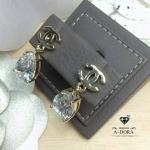 Chanel Earring รุ่นนี้ประดับเพชรตัดกับสีทอง ไม่ลอกไม่ดำ Made in Korea