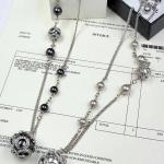 Chanel Pearl Necklace สร้อยคอมุกชาแนลงานเกรดไฮเอน เป๊ะทุกจุด งาน Crystal Swarovski อย่างดี มุกมี 2 สี ดำ/ครีมอมชมพู ตัวเรือนสีเงิน