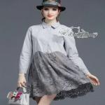 Sweet Bunny Present... Extended Sleeve Button-Down Shirt Dress ชุดเดรสเชิ้ตสีเทา ผ้าคอตตอนเชิ้ต