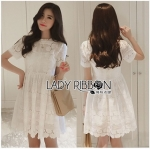 Lady Ribbon Online เสื้อผ้าออนไลน์ขายส่ง Lady Ribbon เสื้อผ้า LR08180816 &#x1F380 Lady Ribbon's Made &#x1F380 Lady Aurelie Pretty Sweet Laser-Cut and Embroidered Cotton Dress in White เด