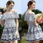 Normal Ally Present Embroider Lace open shoulder dress