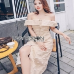 Lady Kelly Embroidered Cotton Lady Ribbon Dress เดรสทรงเปิดไหล่
