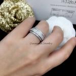 Diamond Ring งานเพชร CZ แท้ แหวนปลอกมีดเพชรละเอียด เพชรรอบวง เพชรแถวกลางหมุนได้