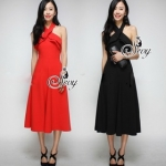 Sevy Sexy Back Curve Shoulder Midi Dress