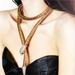 AD1598 - สร้อยคอแฟชั่น,สร้อยคอ,สร้อยแฟชั่น,เครื่องประดับ uropean and American fashion exaggerated fashion diamond gold waist chain snake necklace long sweater chain