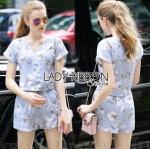 Lady Ribbon Online เสื้อผ้าออนไลน์ขายส่ง lady ribbon เสื้อผ้า LR13150816 &#x1F380 Lady Ribbon's Made &#x1F380 Lady Amiee Sweet Feminine Flower Blooming Printed Baby Blue Set เซ็ตเสื้อและกางเกงสีฟ้า