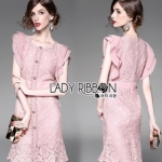 Lady Ribbon Charlotte Sweet Elegant Pleated-Shoulder