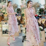Pinky Floral Summer Dress -long dress
