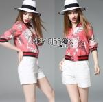 Lady Ribbon ขายส่งเสื้อผ้าออนไลน์พร้อมส่งของแท้ LR07220716 &#x1F380 Lady Ribbon's Made &#x1F380 Gucci Pink Floral Printed Sporty Bomber Jacket
