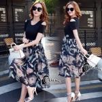 เสื้อผ้าแฟชั่นเกาหลีCliona made'Black Floral Dress