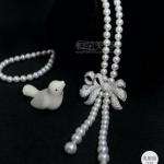 Pearl Necklace สร้อยมุกประดับอะไหล่โบว์งานเพชร CZ แท้ค่ะ งานคุณภาพ