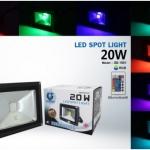 LED FLOODLIHGT 20W RGB สลับสี 7 สีพร้อมรีโมท