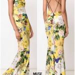 BRAND :: D&G เดรสตัวยาวพิมพ์ลายกราฟฟิกลายดอกสีเหลือง