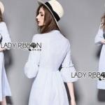 Lady Ribbon Striped Cotton Dress