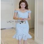 Pastel Blue Strappy Dress Lady Ribbon เดรสสายเดี่ยว