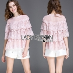 Lady Ribbon Lady Leslie Sweet Vintage Layered Lace Blouse