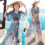 เดรส สีฟ้าครามดอกใหญ่ มีมาให้สาวๆได้เลือกกันคะ ตัวผ้าเป็นผ้าชีฟอง มีเชือกผูกที่เอวมาพร้อมกับซับในแยกชิ้นให้คะ