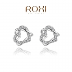 AQ2041 - ต่างหูเพชร ตุ้มหูเพชร ตุ้มหู ต่างหู ต่างหูระย้า เครื่องประดับ Austrian crystal earrings gold-plated double heart wound