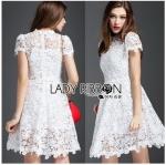 Lady Ribbon Online ขายส่ง เสื้อผ้าออนไลน์ ของแท้ ราคาถูกพร้อมส่ง เลดี้ริบบอน LR12140716 &#x1F380 Lady Ribbon's Made &#x1F380 Lady Gabriela Crystal Embellished Flower White Lace Dress