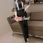 Seoul Secret Say's... Fashly Portrait Black Flora Lace Jumpsuit