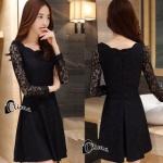 เสื้อผ้าแฟชั่นเกาหลีCliona Black Lace Dress - ลูกไม้นิ่ม เกรดดี