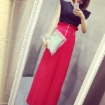 กางเกงกระโปงเอวสูงแฟชั่นขายาวมีซฺิปด้านหน้า สีแดง