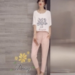 เสื้อผ้าแฟชั่นเกาหลีสวยๆ ชุดเซทเสื้อ+กางเกง ผ้าไม่หนา