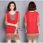 Lady Ribbon Online ขายส่งเสื้อผ้าออนไลน์ Very very pretty VP05030816 Bohemian Red-Chiffon Colorful beads Embroidery Blouse