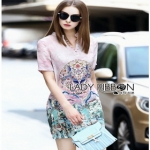 Chinese Style Printed Shirt Dress Lady เชิ้ตเดรส