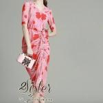 เดรสลุคสดใส เนื้อผ้านิ่มพิมพ์ลายดอกไม้สีแดงสวยเก๋สีสันคมชัด ดีเทลแขนสั้น คอวีค่ะ